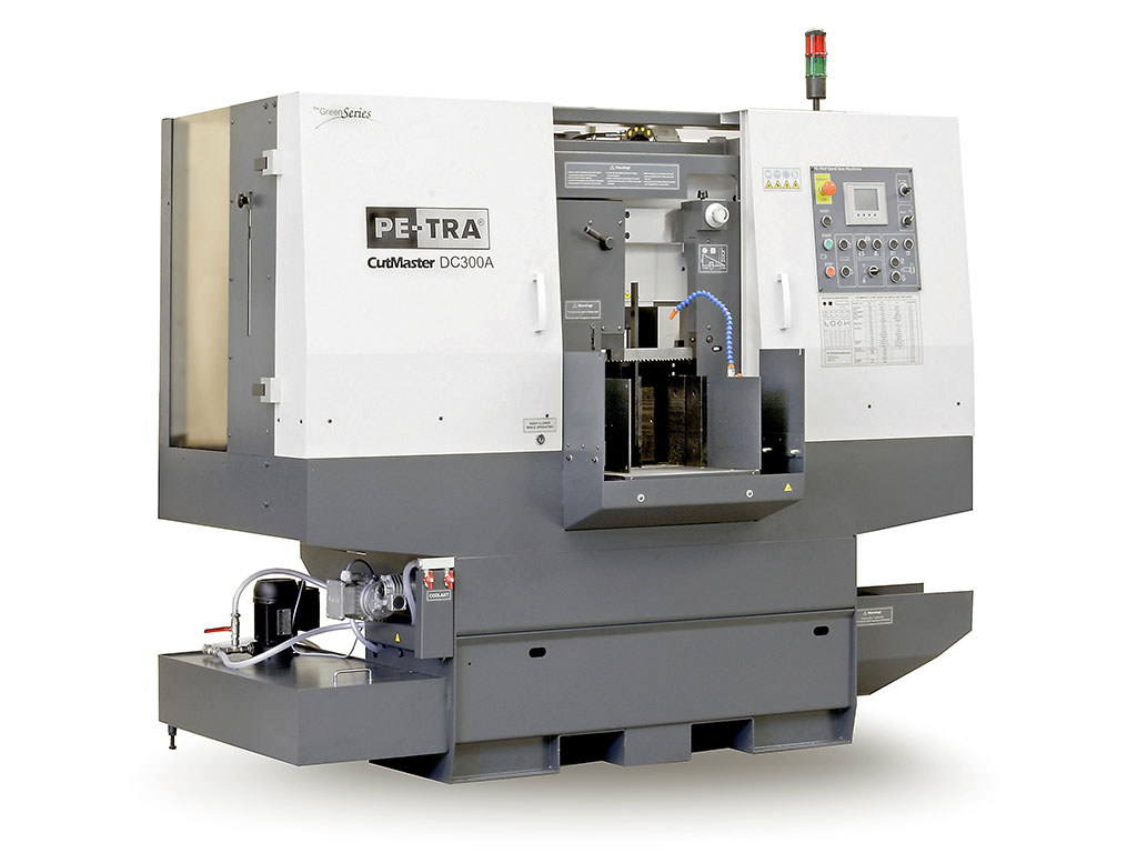 DC300A is fully automatic, high performance, 24×7, Band Saw Machine. The machine is designed, built and certified for high speed cutting with Carbide blades and, equally, for optimal use of bi-metal blades throughout its full cutting range. It comes with easy-to use, rich HMI, , highly efficient LENZE helical gear box, and integrated vertical clamping with programmable chip conveyor as optional equipments. It offers unprecedented blade life under optimal cutting parameters. Safety of operation is assured with fully implemented CE norm.