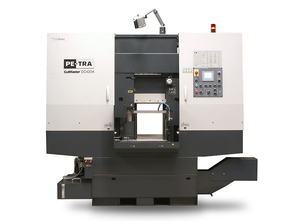 DC420A is fully automatic, high performance, 24×7, Band Saw Machine for cutting all kind of metals for dimensions up to 420 x 420 mm. The machine is designed, built and certified for high speed cutting with Carbide blades and, equally, for optimal use of bi-metal blades throughout its full cutting range. It offers unprecedented blade life under optimal cutting parameters. The machine can be equipped with Variable Angle blade attack angle and Oscillating Cutting options. Highly efficient LENZE helical gear box is standard.
