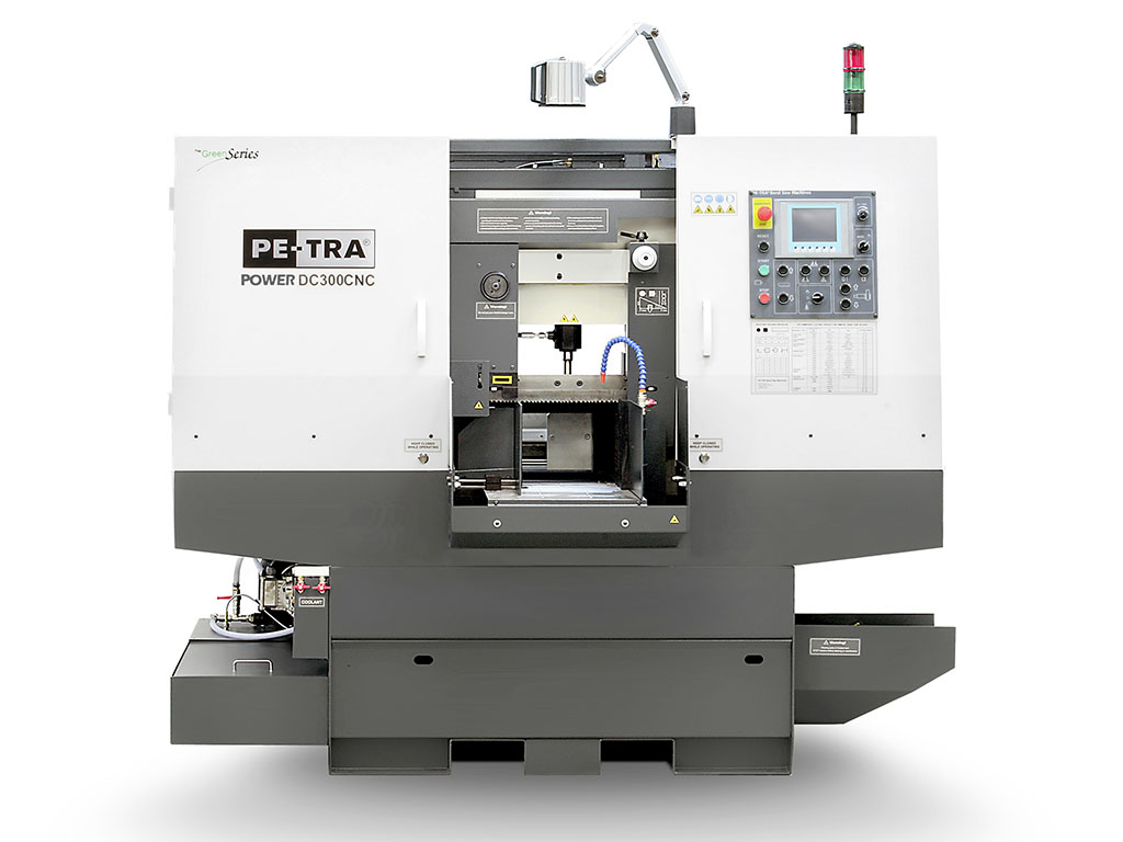 POWER DC300CNC is fully automatic, high performance, 24×7, Band Saw Machine. Batches of cutting jobs can be programmed through color touch screen. The machine is designed, built and certified for high speed cutting with Carbide blades and, equally, for optimal use of bi-metal blades throughout its full cutting range. It offers unprecedented blade life under optimal cutting parameters. Very rich HMI offers programmable lengths of cut pieces, automatic indexing for long cuts, history of cuts, real time cutting rate display, automatic return heights control and much more.