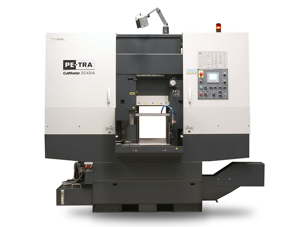 POWER DC420 CNC is fully automatic, high performance, 24×7, Band Saw Machine. Batches of cutting jobs can be programmed through color touch screen. PLC is Siemens 7-1200 with LENZE inverter and CNC control. The machine is designed, built and certified for high speed cutting with Carbide blades and, equally, for optimal use of bi-metal blades throughout its full cutting range. It offers unprecedented blade life under optimal cutting parameters. Very rich HMI offers programmable lengths of cut pieces, automatic indexing for long cuts, history of cuts, real time cutting rate display, automatic return heights control and much more. The machine can be equipped with Variable Angle blade attack angle and Oscillating Cutting options.