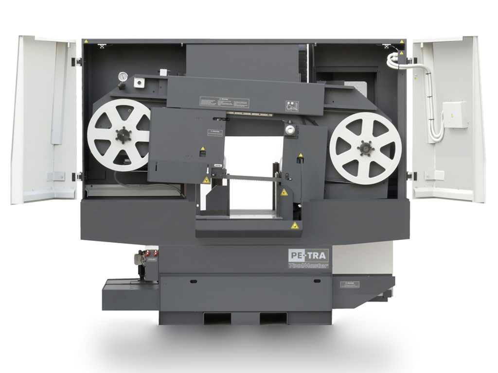 DC420 is semi automatic, high performance Band Saw Machine. PE-TRA ToolMaster is engineered for metal cutting task where there is no need for large scale automated cutting and flexibility for ad-hoc cuts is preferred. Every engineering detail are carefully studied and benchmarked against the competition in its class. The machine is designed, built and certified for high speed cutting with Carbide blades and for optimal use of bi-metal blades throughout its full cutting range.